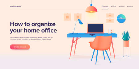 Home workplace or office room interior in isometric vector ilustration. Remote job place with laptop computer, desk an chair. Stylish contemporary furniture and equipment. Web banner layout.