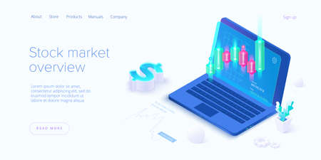 Stock exchange vector illustration in isometric design. Trading market or investment mobile app. Financial broker or trader application. Web banner layout template.
