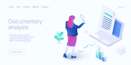 Documentary analysis in isometric vector illustration. Document qualitative research with woman looking through magnifier. Web banner layout. Ilustração
