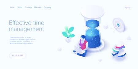 Effective time management in isometric vector illustration. Task prioritizing organization for productivity. Job schedule optimization. Vektorgrafik
