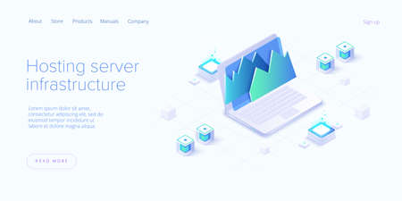 Big data analysis in isometric vector illustration. Abstract datacenter or data hosting server. Ð¡omputer storage or workstation.