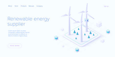 Renewable energy sources concept in isometric vector illustration. Solar electric panels and wind turbines. Sustainable power plants for clean environment. Web banner layout template design. Ilustração