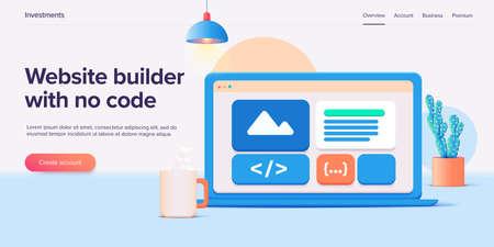 Website builder illustration in 3d vector design. Web development cloud-based service. Saas app for responsive web site.