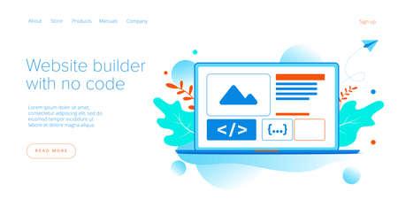 Website builder illustration in flat vector design. Web development cloud-based service. Saas app for responsive web site.