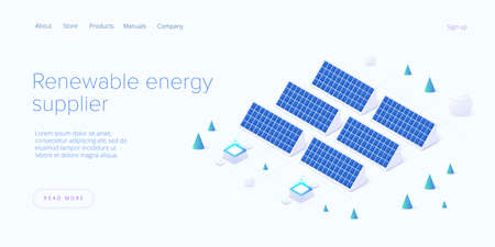 Renewable energy sources concept in isometric vector illustration. Solar electric panels and wind turbines. Sustainable power plants for clean environment. Web banner layout template design. 矢量图像
