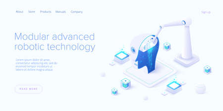Modular advanced robotics in isometric vector illustration. Robot assembling with robo arm. Web banner layout template.