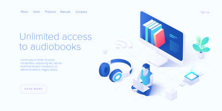 Woman or girl with headphones listening to audiobook. Audio book online service in isometric vector illustration. Internet podcast app.