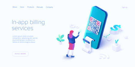In-app billing service in isometric vector illustrations. Mobile payment with qr code scan. Cell phone app to pay bills. Web banner template. Ilustração