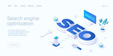 SEO development isometric vector illustration. Website or webpage development concept. Search engine optimization for business purposes. Ilustração