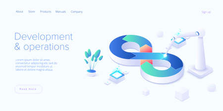 Web development or devops concept in isometric vector design. Developing of internet app or online website service. Creative vector illustration. Landing page layout or banner template.