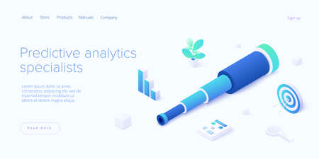 Predictive analytics in isometric vector illustration. Business forecasting as a strategic method of future development. Spyglass as metaphor of goal strategy or prediction analysis.