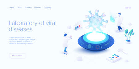 Virus vaccination in isometric vector design. Flu   laboratory. Medical  lab or antivirus vaccine research. Web banner layout template.
