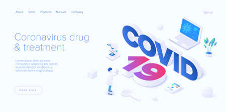 Virus vaccination in isometric vector design. Flu or coronavirus research. Medical covid antidote or antivirus vaccine. Pandemic background. Web banner layout template. 일러스트