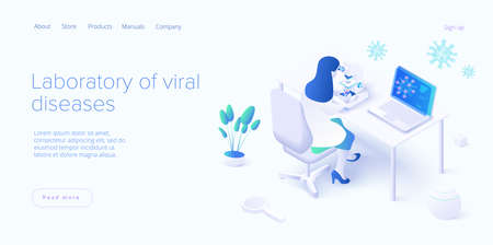 Virus vaccination in isometric vector design. Flu or coronavirus laboratory. Medical  lab or antivirus vaccine research. Web banner layout template.