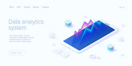 Predictive analytics in isometric vector illustration. Data mining, modeling and machine learning. Information statistics.