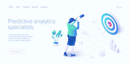 Predictive analytics in isometric vector illustration. Business forecasting as a strategic method of future development. Woman looking through telescope as strategy metaphor. 일러스트