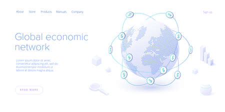 Global economic network in isometric vector illustration. World economy or global financial map concept. International business. Web banner layout template. Ilustração