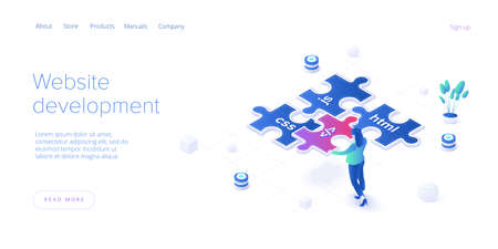 Web development concept in isometric vector design. Developers or designers working at internet app or online service. Web banner layout template.