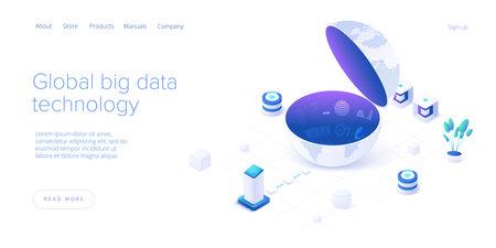 Big data technology in isometric vector illustration. Information storage and analysis system. Digital technology web banner layout template for website landing page. Ilustração