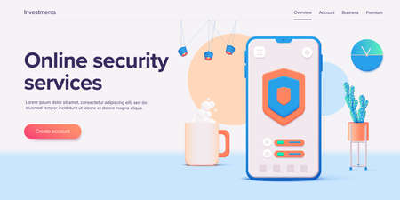 Mobile data security in 3d vector illustration. Online protection system concept with smartphone and verification code field. Secure transfer or transaction with password via internet.