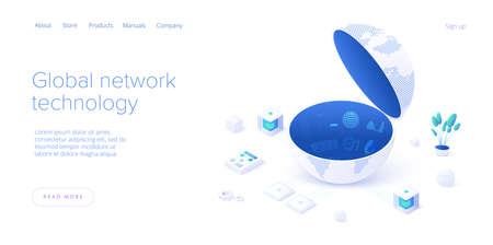 Global network technology in isometric vector illustration. World internet connection or social media online communication concept. Web banner layout template. Ilustração