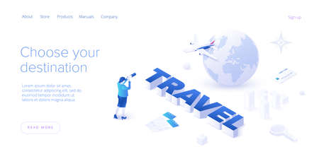 Traveling by air concept in isometric vector illustration. Around the world flight tour or trip. Cheap airline tickets searching and booking service Website layout or web banner template.