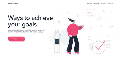 Achieving goal concept with young woman holding flag. Success or successful career metaphor with happy girl. Flat vector illustration. Web banner layout template.