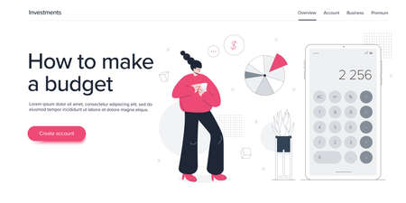 Young woman managing finacial budget. Girl calculating bills or accounting expenses. Flat vector illustration. Web banner layout template Vectores