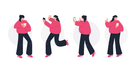 Girl holding and using smartphone. Making photo, texting and video chatting. Set of flat line vector character illustrations.