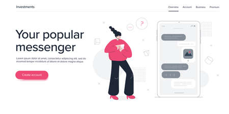Young woman using online messenger in smartphone. Girl chatting via social media app in cellphone. Website banner or webpage layout template. Vectores