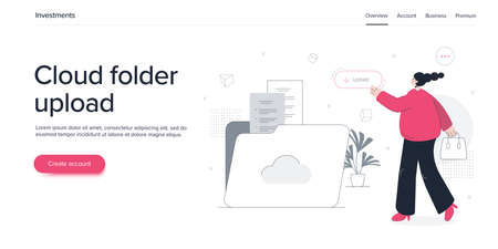 Young woman using cloud folder service in flat vector illustration. Girl uploading documents in digital storage. Data transfering application banner template.