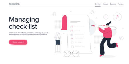 Young woman filling checklist form. Girl character with pen checking list of tasks or survey document. Flat vector illustration. Web banner layout template.