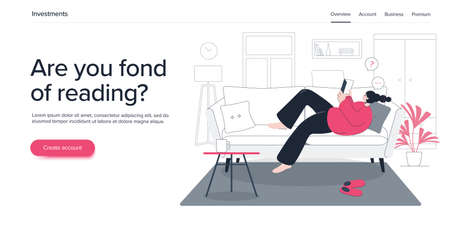 Young woman or girl reading paper book on sofa at home. Happy female learning. Flat vector illustration. Web banner layout template.