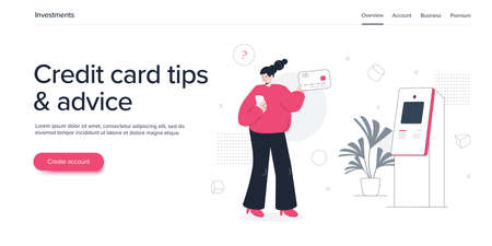 Young woman using credit card with ATM machine. Cash machine withdrawal or online money transfer. Internet banking smartphone pay. Website banner or webpage layout template.