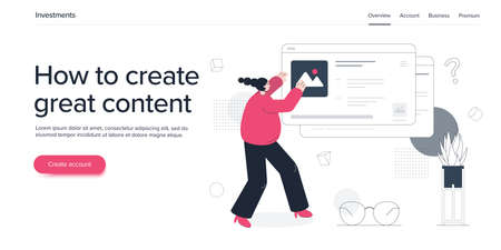 Young woman managing online content. Girl blogger or freelancer creating digital ad. Isometric vector illustration. Web banner layout template. Vectores