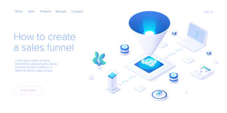 Sales funnel concept in isometric vector illustration. Customer conversion stages as marketing tool. Business strategy filter. Web banner layout template. Vettoriali