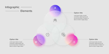 Venn diagram in glassmorphic circle infographic template. Overlapping circular shapes for logic graphic illustration. Vector info graphic in glassmorphism design.