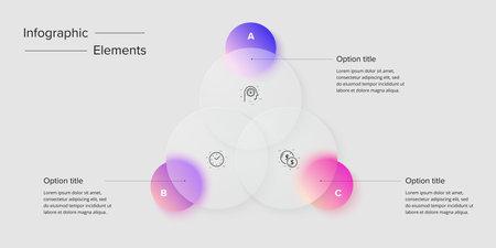 Venn diagram in glassmorphic circle infographic template. Overlapping circular shapes for logic graphic illustration. Vector info graphic in glassmorphism design.