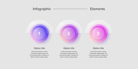 Business process chart infographics with 3 step circles. Circular corporate workflow graphic elements. Company flowchart presentation slide. Vector info graphic in glassmorphism design. Ilustração