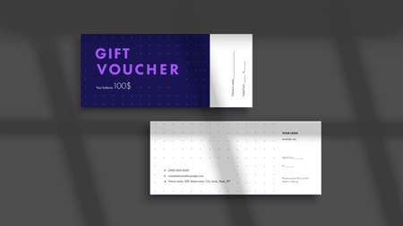 Abstract gift voucher card template. Modern discount coupon or certificate layout with geometric shape pattern. Vector fashion bright background design with information sample text.