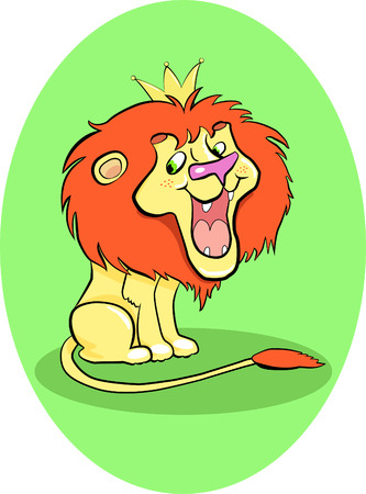 cartoon king: little cartoon lion with a red mane with a crown on his head