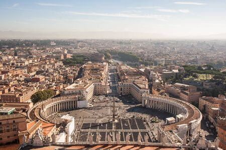 Rome, Italy. Famous Saint Peters Square in Vatican and aerial view of the city. Archivio Fotografico