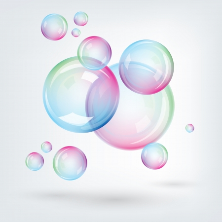 The illustration of  rainbow multicoloured soap bubbles