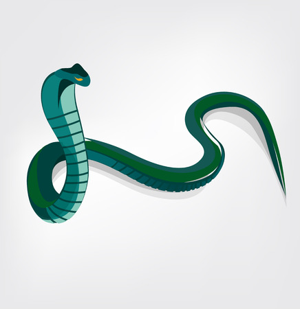 The illustration of green crawling cobra snake Vector