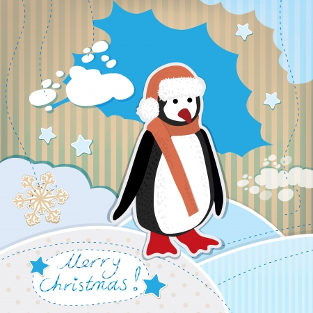 Vintage illustration of beautiful christmas card with penguin Vector