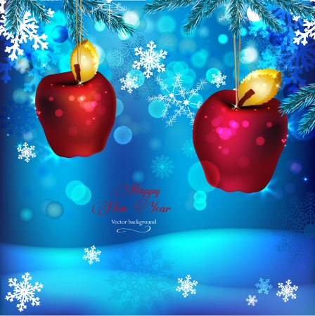 Vector winter background with beautiful various snowflakes and decorative apples  Vector