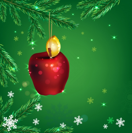 Vector winter background with beautiful new year tree and decorative apples Vector