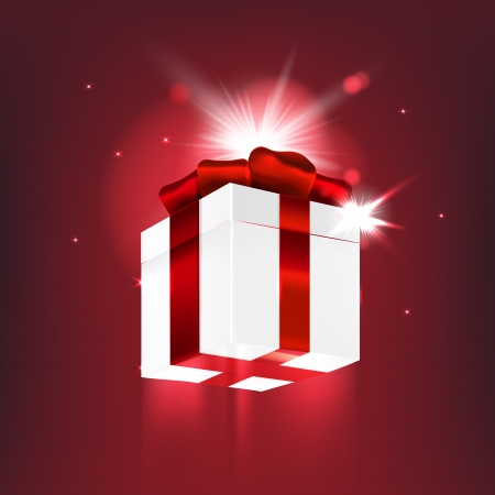 Christmas miracle gift with red bow. Vector illustration. Vector