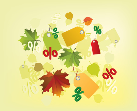 The illustration of autumn background with fallen leaves and sales