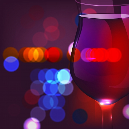 Vector illustration of blurred festive city lights through the wine glass
